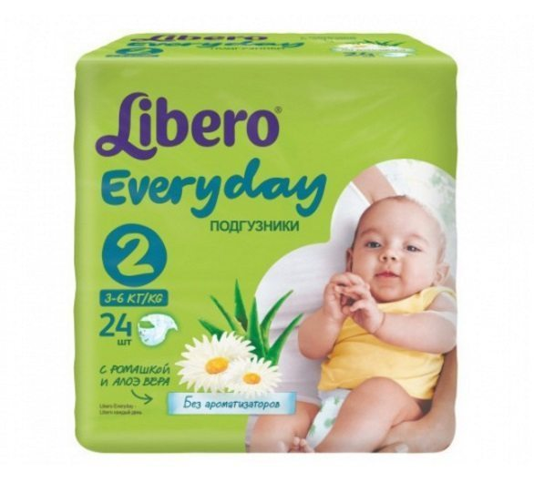 Подгузники Libero Every Day 2 (3-6 кг) Mini- 24 шт