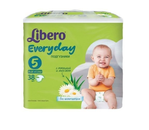 Памперсы для детей Every Day 5 Libero (11-25 кг) Extra Large 38 шт