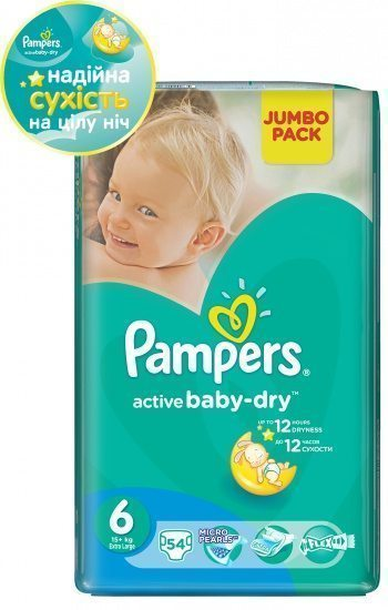 Подгузники 6 Extra Large Pampers Active Baby 54 шт